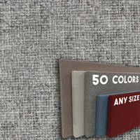 FW800-04 Light Grey Blend - Frameless Fabric Wrap Cork Bulletin Board - Classic Hook And Loop Velcro