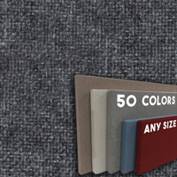 FW800-05 Medium Grey Blend - Frameless Fabric Wrap Cork Bulletin Board - Classic Hook And Loop Velcro
