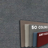 FW800-09  FLANNEL GREY - Frameless Fabric Wrap Cork Bulletin Board - Classic Hook And Loop Velcro