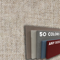 FW800-11 QUARTZ - Frameless Fabric Wrap Cork Bulletin Board - Classic Hook And Loop Velcro