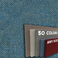FW800-34 Aquamarine Frameless Fabric Wrap Cork Bulletin Board - Classic Hook And Loop Velcro