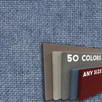 FW800-41 Blue Crystal Frameless Fabric Wrap Cork Bulletin Board - Classic Hook And Loop Velcro