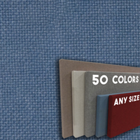 FW800-42 Bayberry Blue Frameless Fabric Wrap Cork Bulletin Board - Classic Hook And Loop Velcro