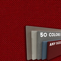 FW800-59 Red Frameless Fabric Wrap Cork Bulletin Board - Classic Hook And Loop Velcro