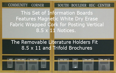 Custom Information Board Features Removeable Literature Holders - Fabric Wrapped Cork Bulletin Board - And Magnetic White Dry Erase