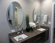 custom frameless mirrors made to your size, choose square, rectange, round or oval with a flat polish or bevel.