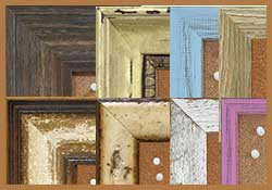 distressed corkboard frames - choose from barnwood, drift wood, shabby chic and more