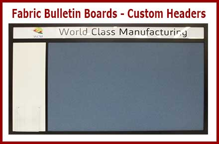 Custom fabric wrapped cork bulletin boards with custom headers with your name or logo