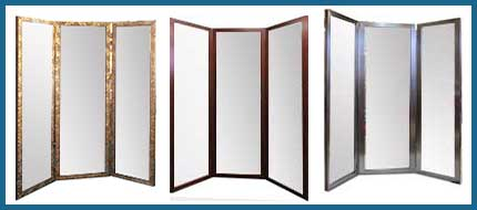 Examples Of Flat Top Framed Three Panel Mirrors - Three Way Mirrors Made To Your Size