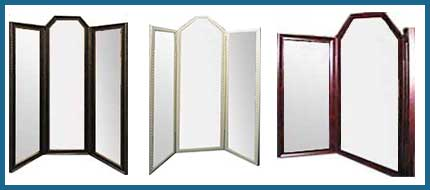 Examples Of Raised Top Three Panel Mirrors - Winged Mirrors Of Any Size