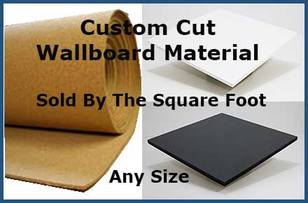 Purchase custom cut decorative wallboard material by the square foot - choose natural self healing cork, chalkboard or whiteboard material