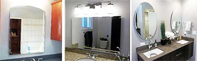 Custom frameless mirrors – choose flat polished beveled – round, square, rectangle or oval.