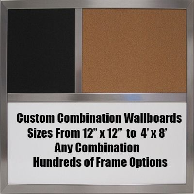 Custom combination wallboards – from 12 inches x 12 inches to 4 feet x 8 feet – with any combination of cork board, chalk board or dry erase elements.