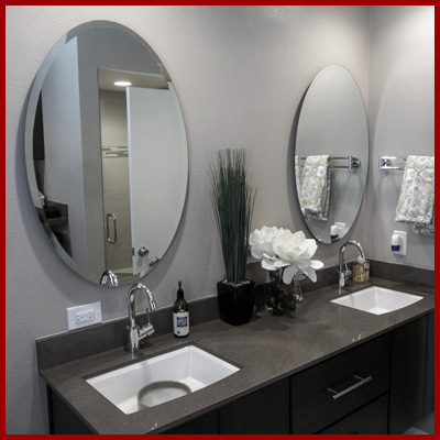 Shop for frameless custom mirrors, round, square, oval, rectangle - made to your size, flat polish or beveled