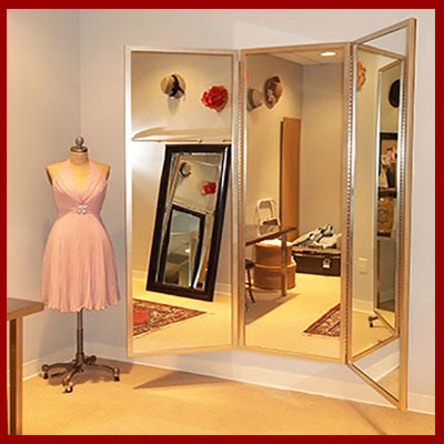 Custom three panel mirrors - framed and frameless - choose size, color and style