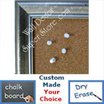 BB130-1 Crushed Silver Custom Cork Chalk or Dry Erase Board Medium To Large