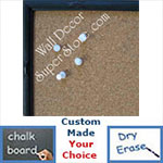 BB180-1 Embellished Dark Espresso Black Small Custom Cork Chalk or Dry Erase Board