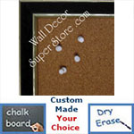 BB184-1 Black With Soft Silver Accents Small To Medium Custom Cork Chalk or Dry Erase Board