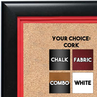 BB1401-3 Black With Red Lip Custom Cork Chalk or Dry Erase Board Medium To Large