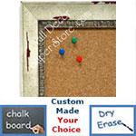 BB1402-1 Distressed White Dogwood Custom Cork Chalk or Dry Erase Board Medium To Large