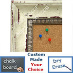 BB1403-1 Distressed White Dogwood Medium To Extra Large Custom Cork Chalk Or Dry Erase Board