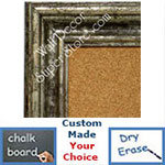 BB1412-2 Distressed  European Silver Medium To Extra Large Custom Cork Chalk Or Dry Erase Board