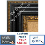 BB1423-3 Distressed Espresso Black  With Gold Insert Medium To Extra Large Custom Cork Chalk Or Dry Erase Board
