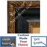BB1424-3 Ornate Gold With Distressed Espresso Black Scoop Medium To Extra Large Custom Cork Chalk Or Dry Erase Board
