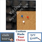 BB1463-1 Black With Rolling Ridges Medium To Extra Large Custom Cork Chalk Or Dry Erase Board