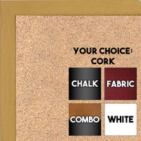 BB1511-6  Yellow Stained Maple - Small Custom Cork Chalk or Dry Erase Board