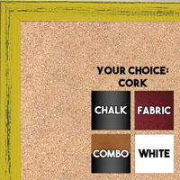 BB1532-7 Distressed Yellow  - Small Custom Cork Chalk or Dry Erase Board