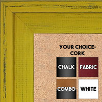 BB1534-7 Distressed Yellow - Extra Large Custom Cork Chalk or Dry Erase Board