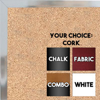 BB1540-1 Thin Metal Bright Silver -Shiny Chrome Look Custom Cork Chalk or Dry Erase Board Small To Large