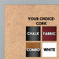 BB1540-22 Thin Metal Grey Custom Cork Chalk or Dry Erase Board Small To Large