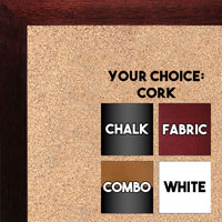 BB1544-7 Mahogany  - 3/4 Inch Wide X 1 1/4 Inch High - Small Custom Cork Chalk Dry Erase