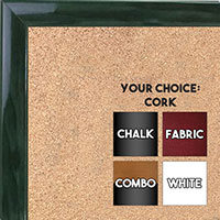 BB1562-7 Gloss Lacquer Dark Green Wood Grain Small Custom Cork Chalk or Dry Erase Board