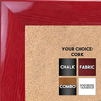 BB1563-5 Gloss Lacquer Red Wood Grain Large  Custom Cork Chalk or Dry Erase Board