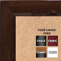 BB1563-9 Gloss Lacquer Walnut Brown Wood Grain Large  Custom Cork Chalk or Dry Erase Board
