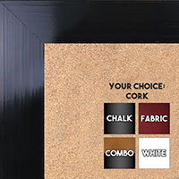 BB1565-3 Glossy Distressed Black - Large Custom Cork Chalk or Dry Erase Board