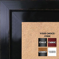 BB1568-3 Glossy Distressed Black - Extra Large Custom Cork Chalk or Dry Erase Board