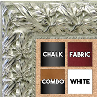 BB1624-2  Silver with Black / Design | Custom Cork Bulletin Board | Custom White Dry Erase Board | Custom Chalk Board