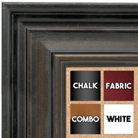 BB1639-1  Distressed Black with Walnut | Custom Cork Bulletin Board | Custom White Dry Erase Board | Custom Chalk Board