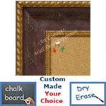BB1643-1 | Distressed Red with Gold | Custom Cork Bulletin Board | Custom White Dry Erase Board | Custom Chalk Board