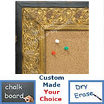 BB1648-2  Distressed Black & Gold | Custom Cork Bulletin Board | Custom White Dry Erase Board | Custom Chalk Board