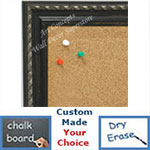 BB1653-2  Distressed Black with Silver | Custom Cork Bulletin Board | Custom White Dry Erase Board | Custom Chalk Board