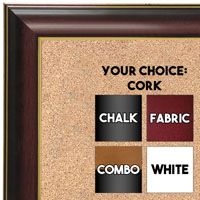 BB1667-1 | Matte Mahogany / Gold | Custom Cork Bulletin Board | Custom White Dry Erase Board | Custom Chalk Board