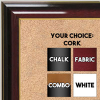 BB1668-1 | Glossy Mahogany / Gold | Custom Cork Bulletin Board | Custom White Dry Erase Board | Custom Chalk Board