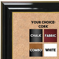 BB1668-2 | Glossy Black / Gold | Custom Cork Bulletin Board | Custom White Dry Erase Board | Custom Chalk Board