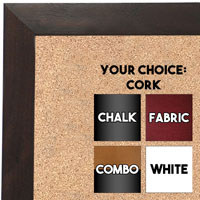 BB1681-3 | Dark Walnut | Custom Cork Bulletin Board | Custom White Dry Erase Board | Custom Chalk Board