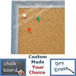 BB1686-4 | Brushed Silver with Blue | Custom Cork Bulletin Board | Custom White Dry Erase Board | Custom Chalk Board